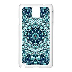 Green Blue Black Mandala  Psychedelic Pattern Samsung Galaxy Note 3 N9005 Case (white) by Costasonlineshop