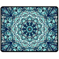 Green Blue Black Mandala  Psychedelic Pattern Double Sided Fleece Blanket (medium)  by Costasonlineshop