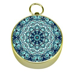 Green Blue Black Mandala  Psychedelic Pattern Gold Compasses by Costasonlineshop