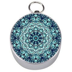 Green Blue Black Mandala  Psychedelic Pattern Silver Compasses by Costasonlineshop