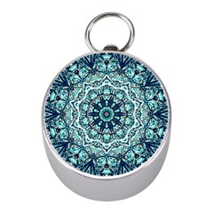 Green Blue Black Mandala  Psychedelic Pattern Mini Silver Compasses by Costasonlineshop