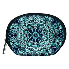 Green Blue Black Mandala  Psychedelic Pattern Accessory Pouches (medium)  by Costasonlineshop