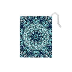 Green Blue Black Mandala  Psychedelic Pattern Drawstring Pouches (small)  by Costasonlineshop