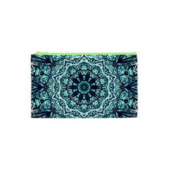 Green Blue Black Mandala  Psychedelic Pattern Cosmetic Bag (xs) by Costasonlineshop