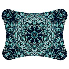 Green Blue Black Mandala  Psychedelic Pattern Jigsaw Puzzle Photo Stand (bow) by Costasonlineshop