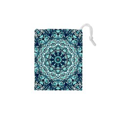 Green Blue Black Mandala  Psychedelic Pattern Drawstring Pouches (xs)  by Costasonlineshop