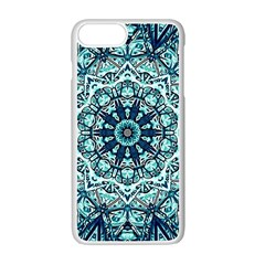 Green Blue Black Mandala  Psychedelic Pattern Apple Iphone 7 Plus Seamless Case (white) by Costasonlineshop