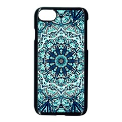Green Blue Black Mandala  Psychedelic Pattern Apple Iphone 7 Seamless Case (black) by Costasonlineshop