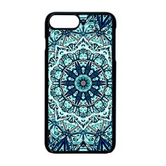 Green Blue Black Mandala  Psychedelic Pattern Apple Iphone 8 Plus Seamless Case (black) by Costasonlineshop