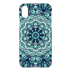 Green Blue Black Mandala  Psychedelic Pattern Apple Iphone X Hardshell Case by Costasonlineshop