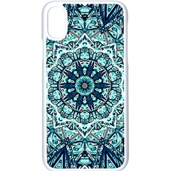 Green Blue Black Mandala  Psychedelic Pattern Apple Iphone X Seamless Case (white) by Costasonlineshop