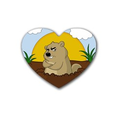Groundhog Day Rubber Coaster (heart)  by Valentinaart