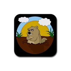 Groundhog Day Rubber Square Coaster (4 Pack)