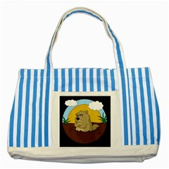 Groundhog Day Striped Blue Tote Bag by Valentinaart