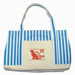Year Of The Dog   Chinese New Year Striped Blue Tote Bag by Valentinaart