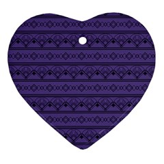 Color Of The Year 2018 - Ultraviolet - Art Deco Black Edition Heart Ornament (two Sides) by tarastyle