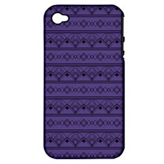 Color Of The Year 2018   Ultraviolet   Art Deco Black Edition Apple Iphone 4/4s Hardshell Case (pc+silicone) by tarastyle