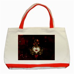 Wonderful Hearts With Dove Classic Tote Bag (red) by FantasyWorld7