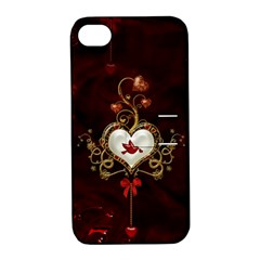 Wonderful Hearts With Dove Apple Iphone 4/4s Hardshell Case With Stand by FantasyWorld7