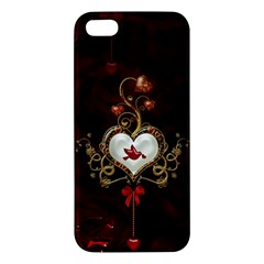 Wonderful Hearts With Dove Apple Iphone 5 Premium Hardshell Case by FantasyWorld7