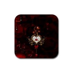 Wonderful Hearts With Dove Rubber Square Coaster (4 Pack)  by FantasyWorld7