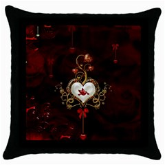 Wonderful Hearts With Dove Throw Pillow Case (black) by FantasyWorld7