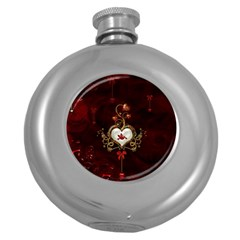 Wonderful Hearts With Dove Round Hip Flask (5 Oz) by FantasyWorld7