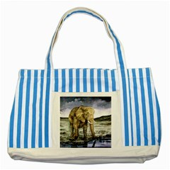 Elephant Striped Blue Tote Bag