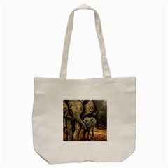 Elephant Mother And Baby Tote Bag (cream) by ArtByThree