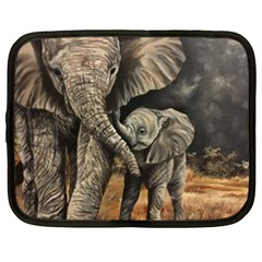Elephant Mother And Baby Netbook Case (xxl)  by ArtByThree