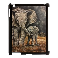 Elephant Mother And Baby Apple Ipad 3/4 Case (black) by ArtByThree