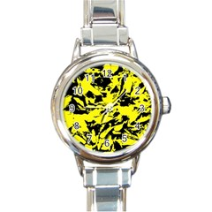 Yellow Black Abstract Military Camouflage Round Italian Charm Watch by Costasonlineshop