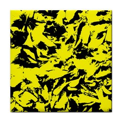Yellow Black Abstract Military Camouflage Tile Coasters by Costasonlineshop