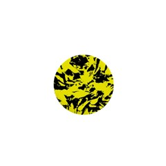 Yellow Black Abstract Military Camouflage 1  Mini Buttons by Costasonlineshop