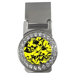 Yellow Black Abstract Military Camouflage Money Clips (cz)  by Costasonlineshop