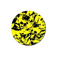Yellow Black Abstract Military Camouflage Magnet 3  (round) by Costasonlineshop