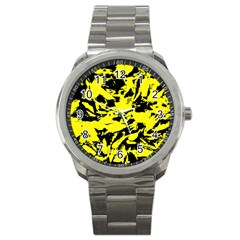 Yellow Black Abstract Military Camouflage Sport Metal Watch by Costasonlineshop
