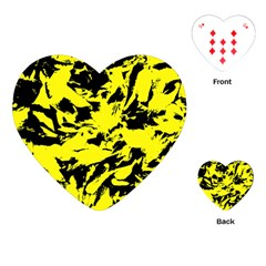 Yellow Black Abstract Military Camouflage Playing Cards (heart)  by Costasonlineshop