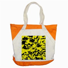 Yellow Black Abstract Military Camouflage Accent Tote Bag by Costasonlineshop