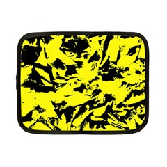 Yellow Black Abstract Military Camouflage Netbook Case (small)  by Costasonlineshop