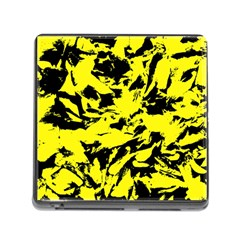 Yellow Black Abstract Military Camouflage Memory Card Reader (square) by Costasonlineshop