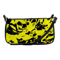 Yellow Black Abstract Military Camouflage Shoulder Clutch Bags by Costasonlineshop