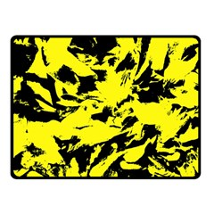Yellow Black Abstract Military Camouflage Fleece Blanket (small) by Costasonlineshop