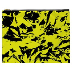 Yellow Black Abstract Military Camouflage Cosmetic Bag (xxxl)  by Costasonlineshop