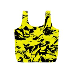 Yellow Black Abstract Military Camouflage Full Print Recycle Bags (s)  by Costasonlineshop