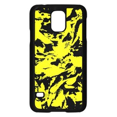 Yellow Black Abstract Military Camouflage Samsung Galaxy S5 Case (black) by Costasonlineshop