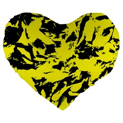 Yellow Black Abstract Military Camouflage Large 19  Premium Flano Heart Shape Cushions by Costasonlineshop