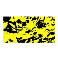 Yellow Black Abstract Military Camouflage Satin Wrap by Costasonlineshop