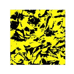 Yellow Black Abstract Military Camouflage Small Satin Scarf (square) by Costasonlineshop