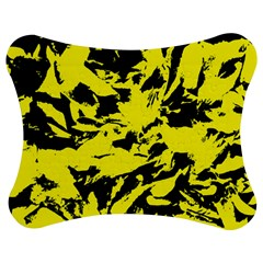 Yellow Black Abstract Military Camouflage Jigsaw Puzzle Photo Stand (bow) by Costasonlineshop